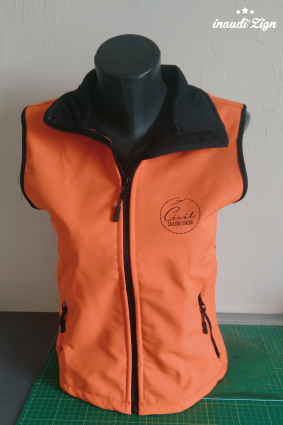 bodywarmer orange marquage coeur